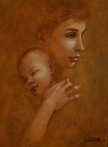 Madonna with Child 1964 19x15