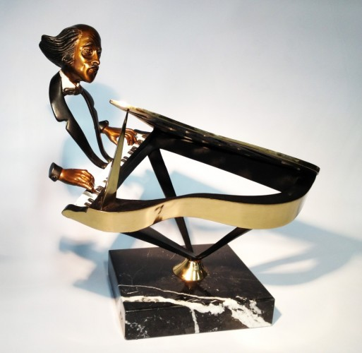 Grand Pianist Bronze Sculpture 1990 16 in
