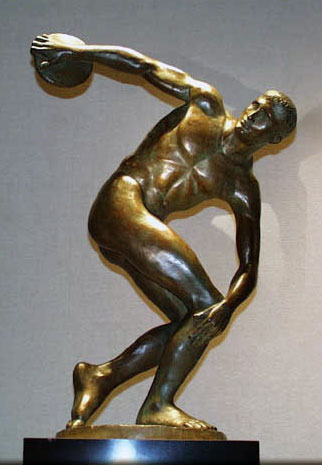 Discus Thrower Bronze Sculpture 1995 30 in