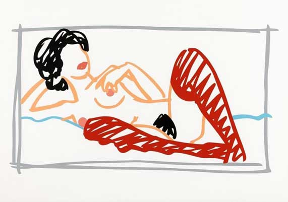 Fast Sketch Red Stocking Nude 1991 by Tom Wesselmann