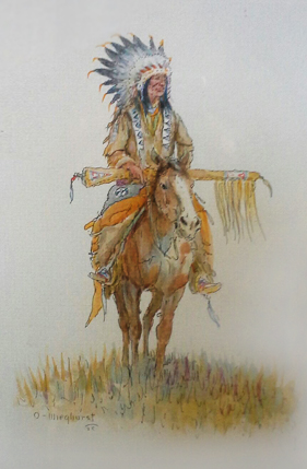 Indian Chief on Horse Watercolor