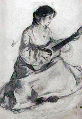 Woman with Guitar 1902 11x14