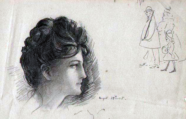 Woman with Cartoon Drawing 1897