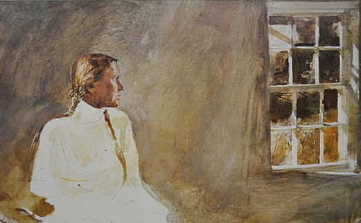 White Dress 1987 HS by Andrew Wyeth