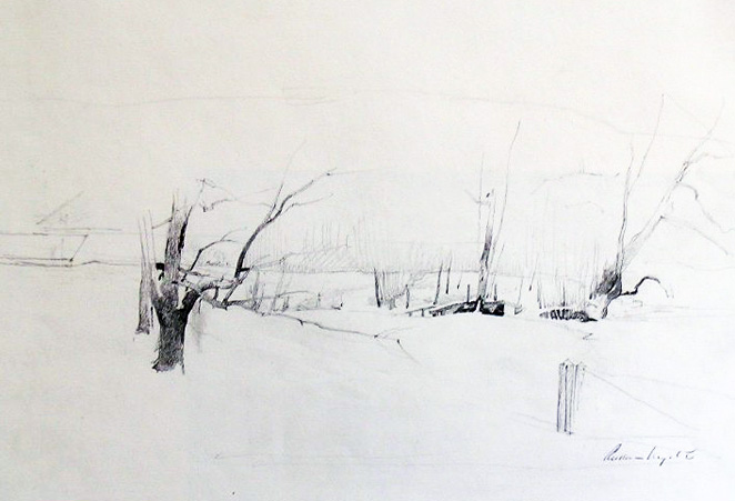 Study of River Valley Drawing HS