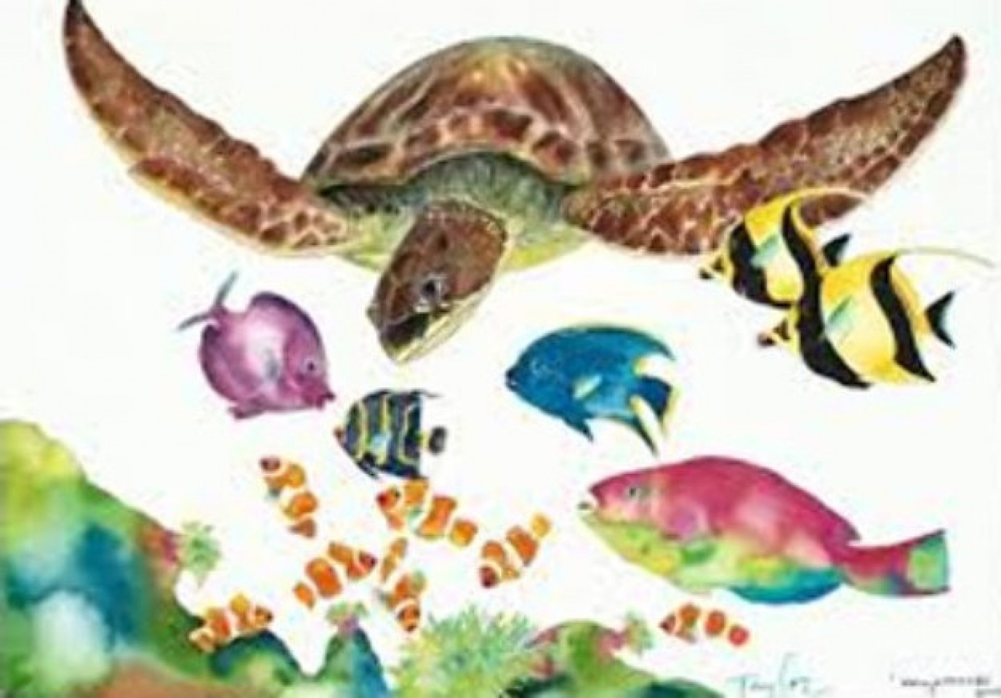 Something Fishee, California, Sea of Color, Wy Land, Suite of 4 LIthographs 2005
