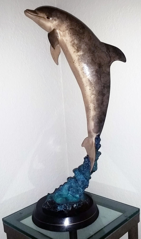 Dolphin Encounter Bronze Sculpture 1994 28 in