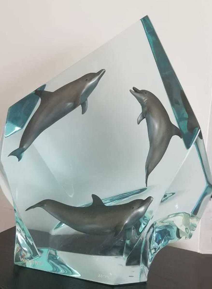 Dolphin Circle of Life Acrylic Sculpture 15 in