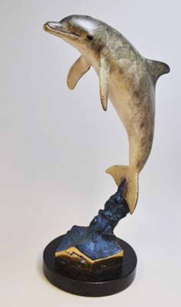 Dolphin Encounter Bronze Sculpture 1993 29 in