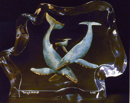 Humpback Family Lucite Sculpture