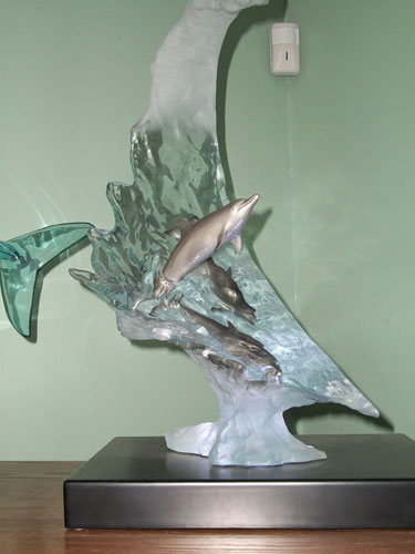 Dolphin Sea Bronze/Acrylic Sculpture 2006 22 in