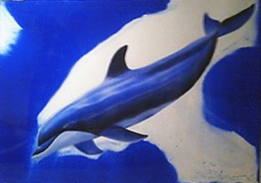 Dolphin Life Watercolor 2002 55x75