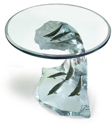 Dolphin Wave Table Metal and Acrylic Table Sculpture AP 2006