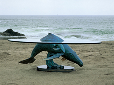 Above and Below Humpbacks Table Bronze Coffee Table Sculpture 1994