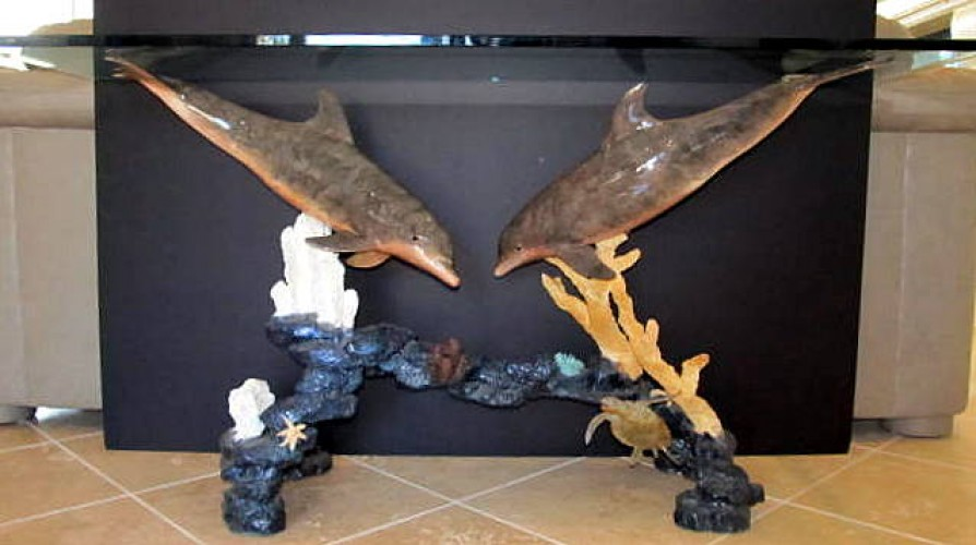 Dolphin Arch Bronze Entry Table AP 1997