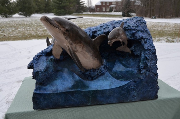 Dolphin Experience End Table Bronze Sculpture 1992