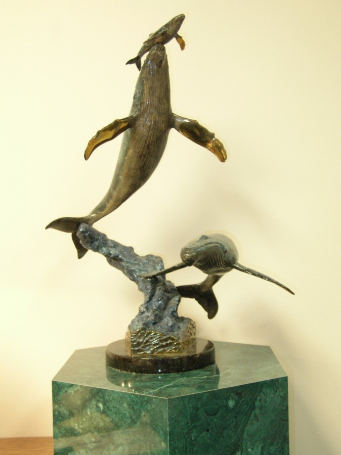 Cow Calf Escort Bronze Sculpture 1997 21 in