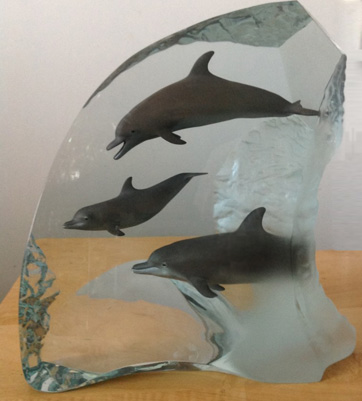 Dolphin Wonder Acrylic Sculpture 32 in