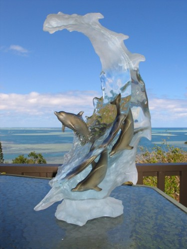 Dolphin Sea Acrylic Sculpture 2006 22 in  high