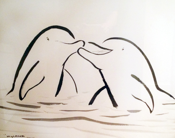Kissing Dolphins 2001 42x36