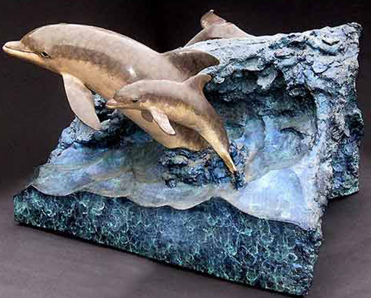 Dolphin Experience Bronze Table Sculpture 1992 28x26x32