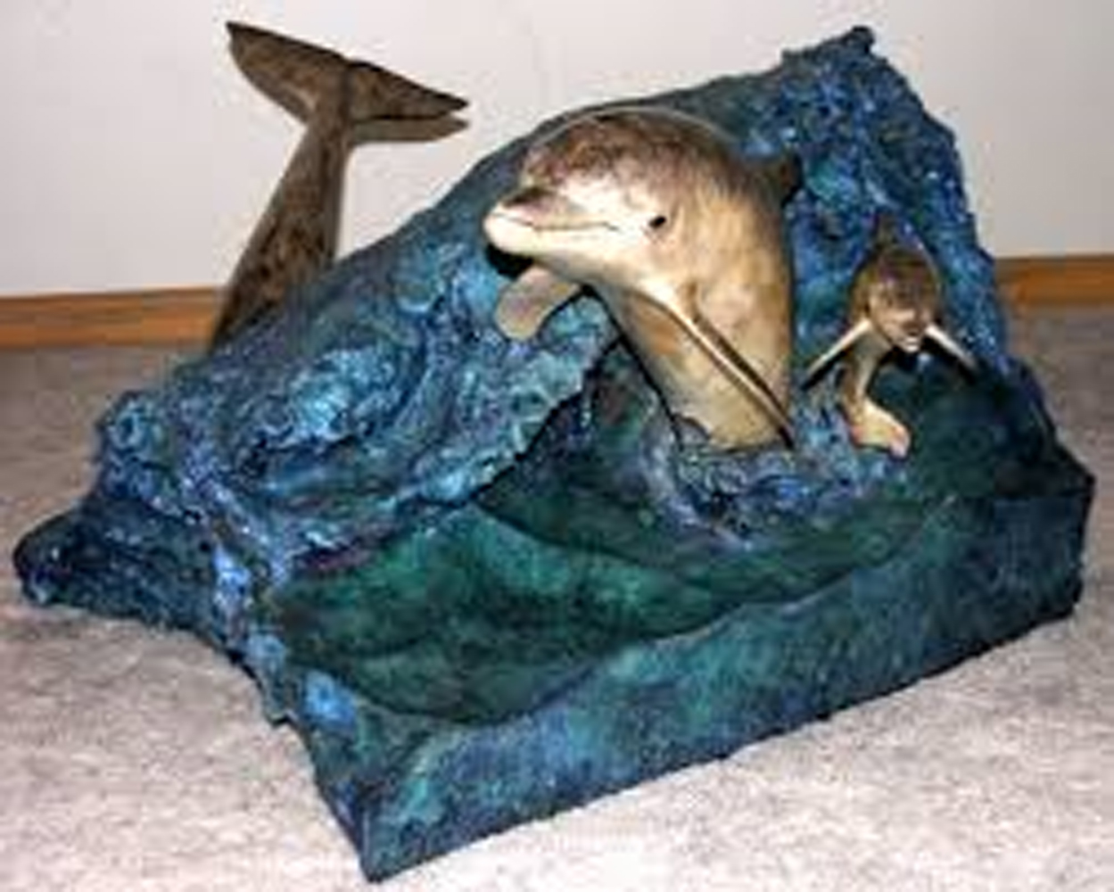 Dolphin Experience Bronze End Table 1992