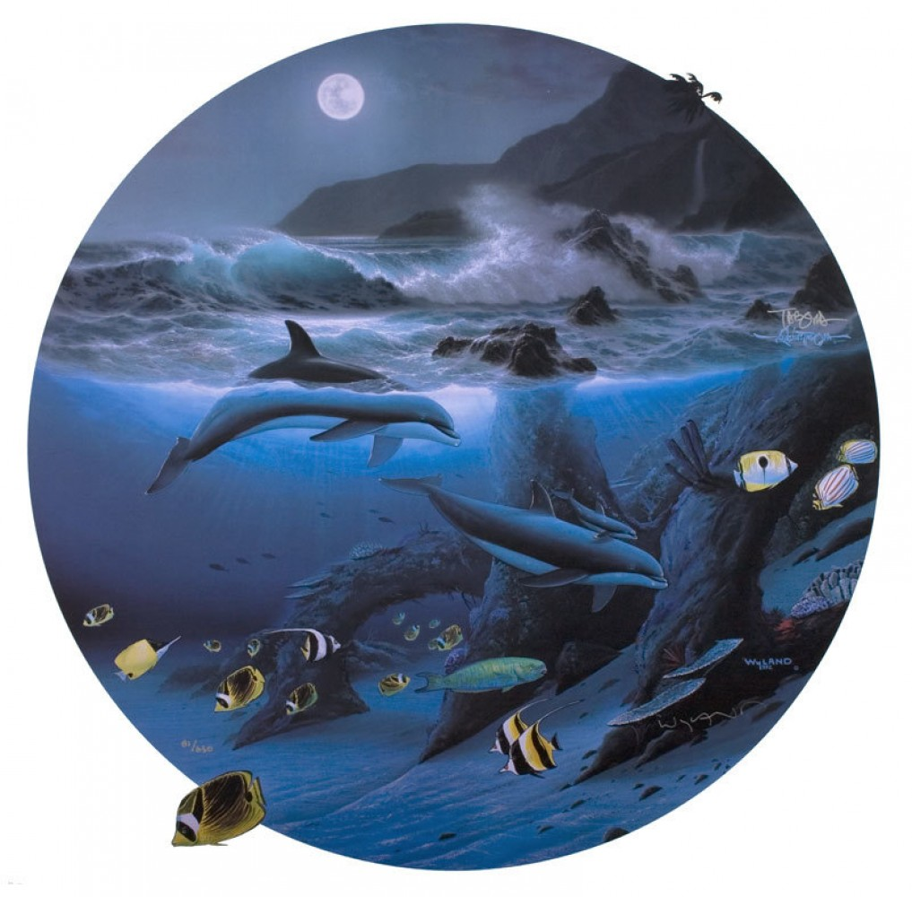 Dolphin Moon 1992 by Robert Wyland