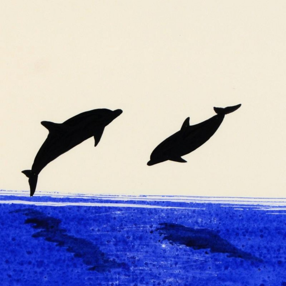 Two Dolphins Watercolor 2014 25x22