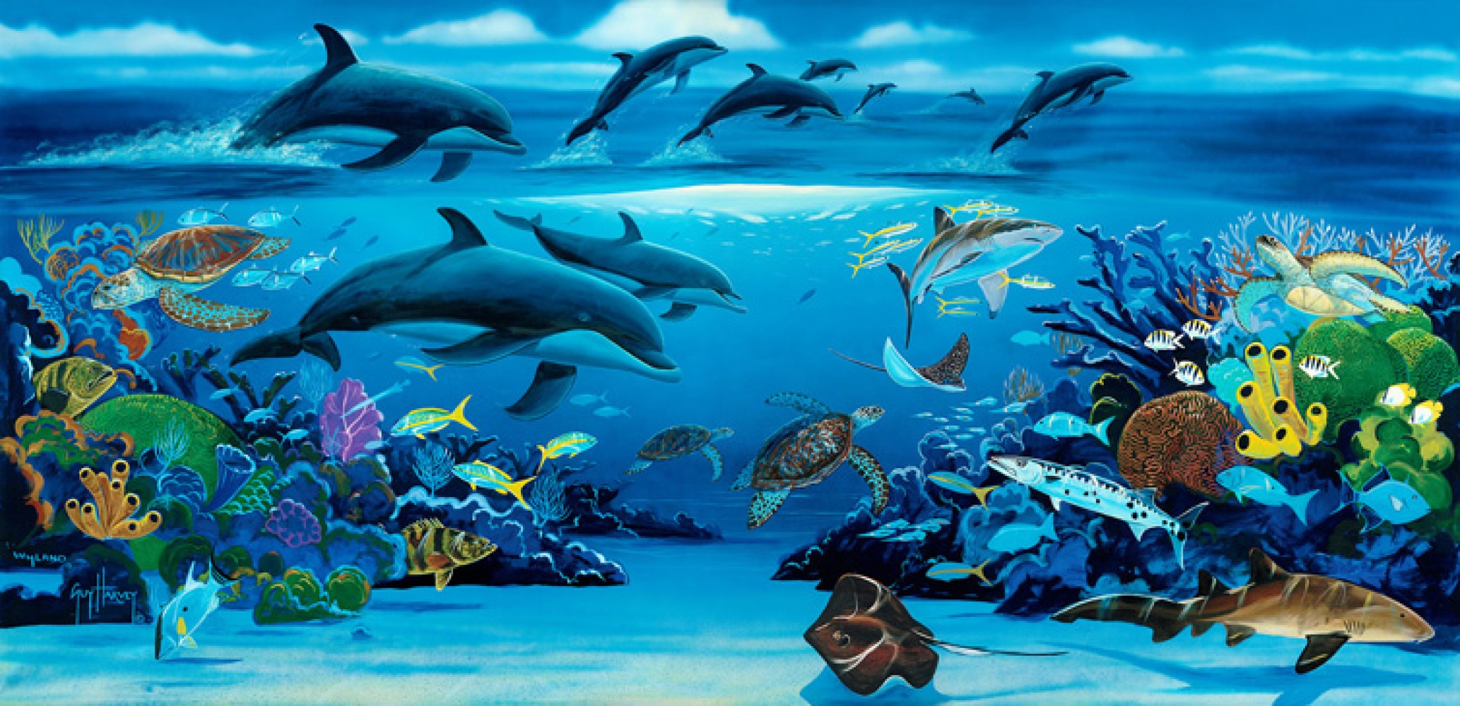 Robert wyland art for sale for Dolphin paradise wall mural