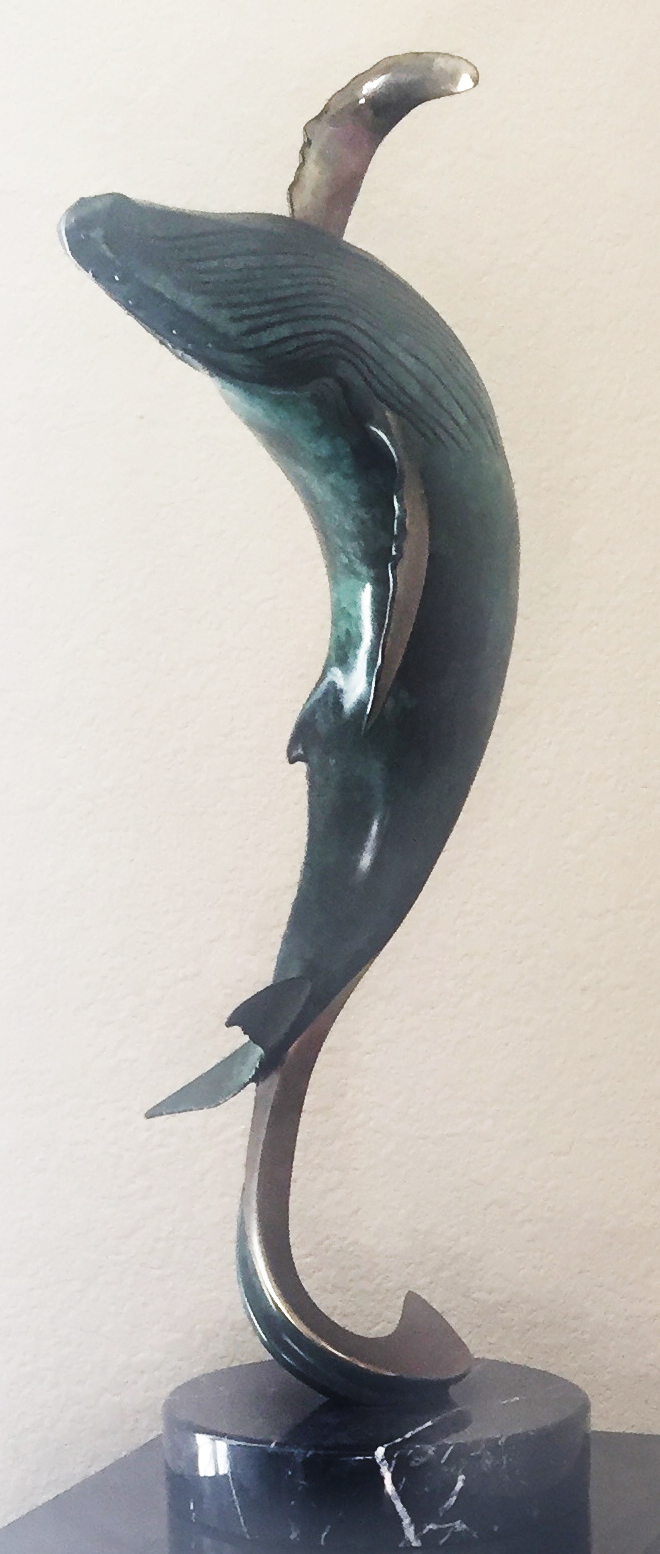 Breaching Out Bronze Sculpture 1993 25 in