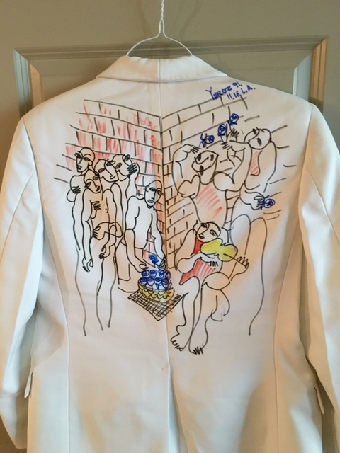Colored Ink Markers on White Dinner Jacket