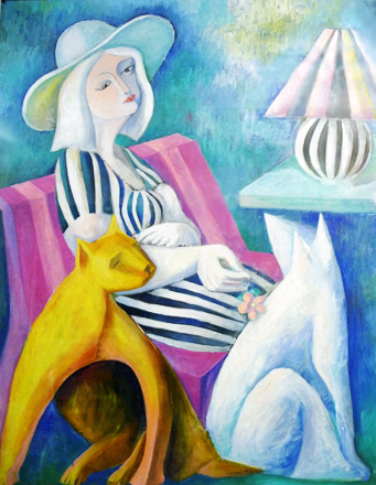 Woman with Hat and Cats 1988 41x41