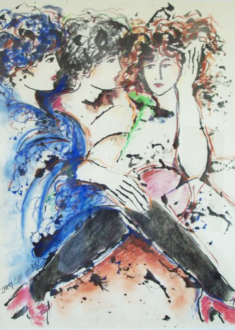 Three Women Together 1986 40x30