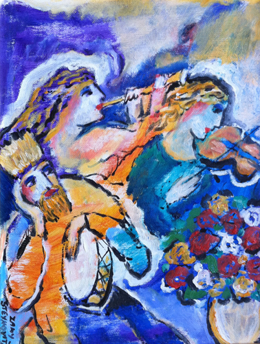 Untitled Musicians with Violin, Flute, and Drum Painting