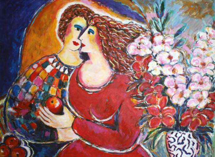 Lovers With Bouquet 40x50
