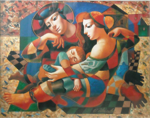Resting Family 1998 Embellished