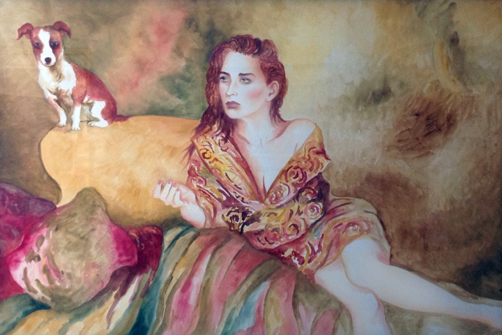 Notorious Miss S Watercolor 1991 42x62