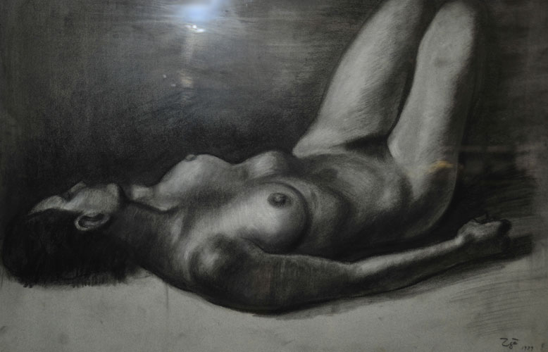 Reclining Female Nude Drawing 1979