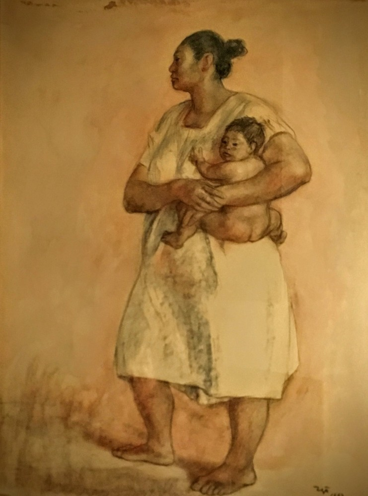 Mother And Child Pastel 1967 28x21