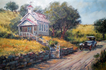 Sunday Afternoon, Old Church Near Auburn, California Original Painting - Ben Abril