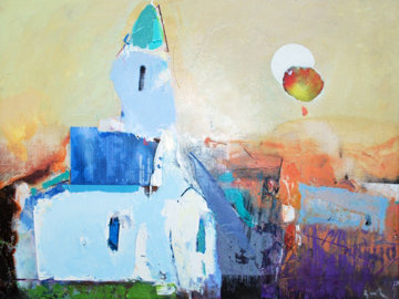 White Church 2013 22x32 Original Painting - Vano Abuladze