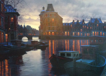 Canal At Dusk 2005 Embellished Limited Edition Print - Alexei  Butirskiy