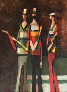 Three Figures 1982 34x44 Original Painting - David Adickes