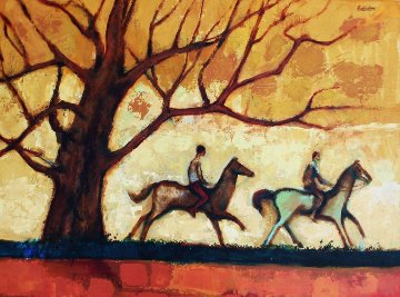 Two Horsemen Rustic Ride 1980 30x40 Original Painting - David Adickes