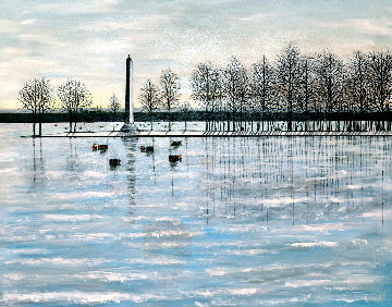 Misery Bay, Winter 2011 26x32 Original Painting - Roy Ahlgren