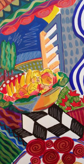 Fruits And Flowers 1993 39x26 Original Painting - Jason Alexander