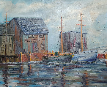 Untitled (Wharf) 29x34 Original Painting - Charles Curtis Allen