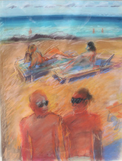 Untitled Beach Pastel Painting 1984 26x20