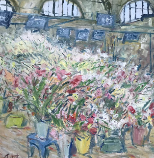 Flower Market At Arles 1980 48x48 Original Painting - Duane Alt