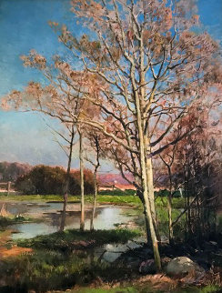 Landscape With Trees And Stream 20x16 Original Painting - Mathias Joseph Alten